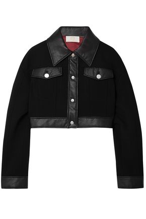 SARA BATTAGLIA Cropped faux leather-trimmed wool-crepe jacket