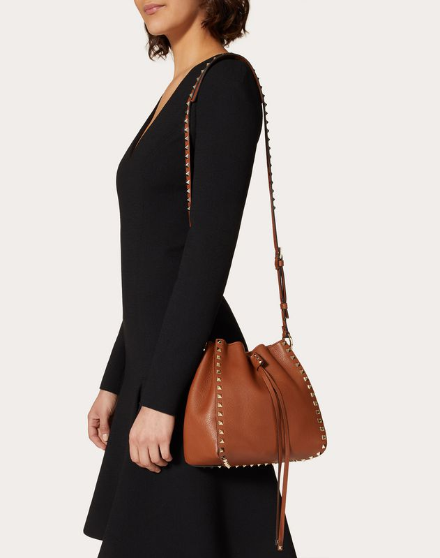 Small Rockstud Grainy Calfskin Bucket Bag