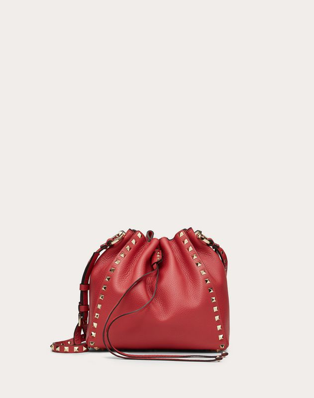 Small Rockstud Grainy Calfskin Bucket Bag