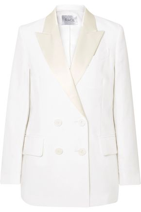 RACIL Casablanca double-breasted satin-trimmed linen blazer
