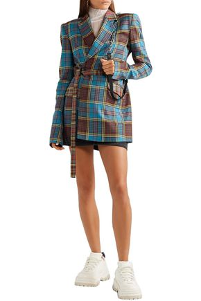 House Of Holland Blazers HOUSE OF HOLLAND WOMAN OVERSIZED TIE-FRONT WOOL BLAZER BLUE