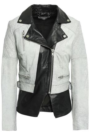 MUUBAA Paneled two-tone cracked-leather biker jacket