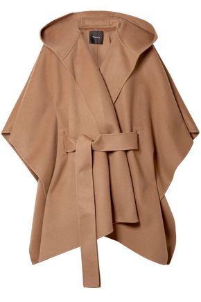 THEORY Tie-front brushed wool and cashmere-blend cape