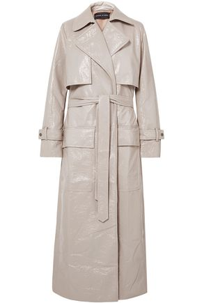 MICHAEL LO SORDO Crinkled faux patent-leather trench coat