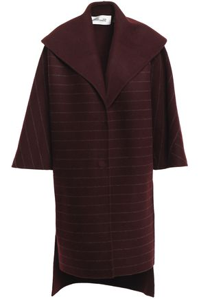 DIANE VON FURSTENBERG Pinstriped wool-blend felt coat