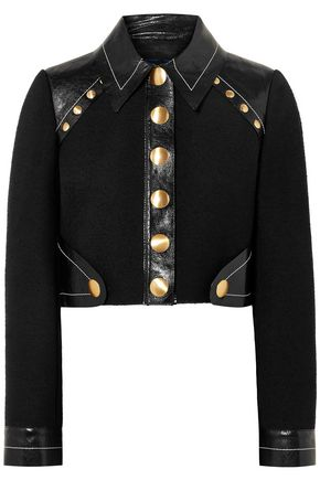 PROENZA SCHOULER Cropped studded wool-blend and patent-leather jacket
