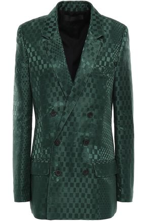 HAIDER ACKERMANN Double-breasted linen and silk-blend satin-jacquard blazer