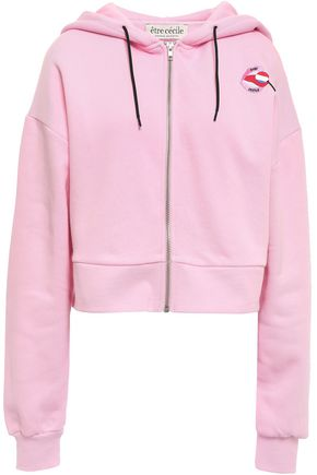 ÊTRE CÉCILE Embroidered cotton-fleece hooded jacket