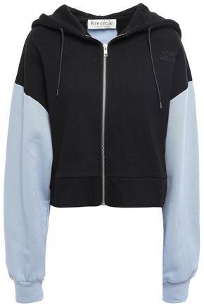 ÊTRE CÉCILE Two-tone cotton-fleece hooded jacket