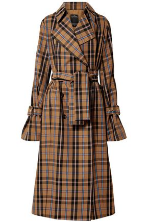 ROKH Checked gabardine trench coat