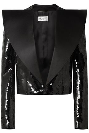 SAINT LAURENT Cropped satin-paneled sequined wool jacket