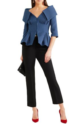 Fendi Blazers FENDI WOMAN OFF-THE-SHOULDER PINSTRIPED COTTON-BLEND TWILL BLAZER NAVY