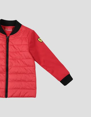 Scuderia Ferrari Online Store - Padded jacket with SOFTSHELL sleeves and back for boys and girls - Bombers & Track Jackets