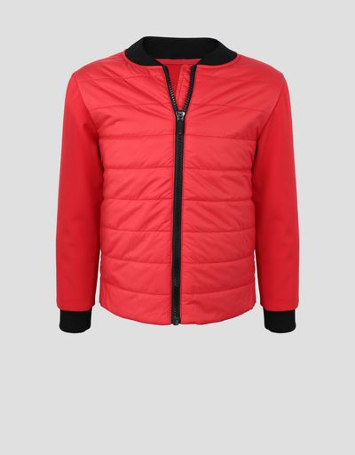 Padded jacket for boys and girls with SOFTSHELL sleeves and back