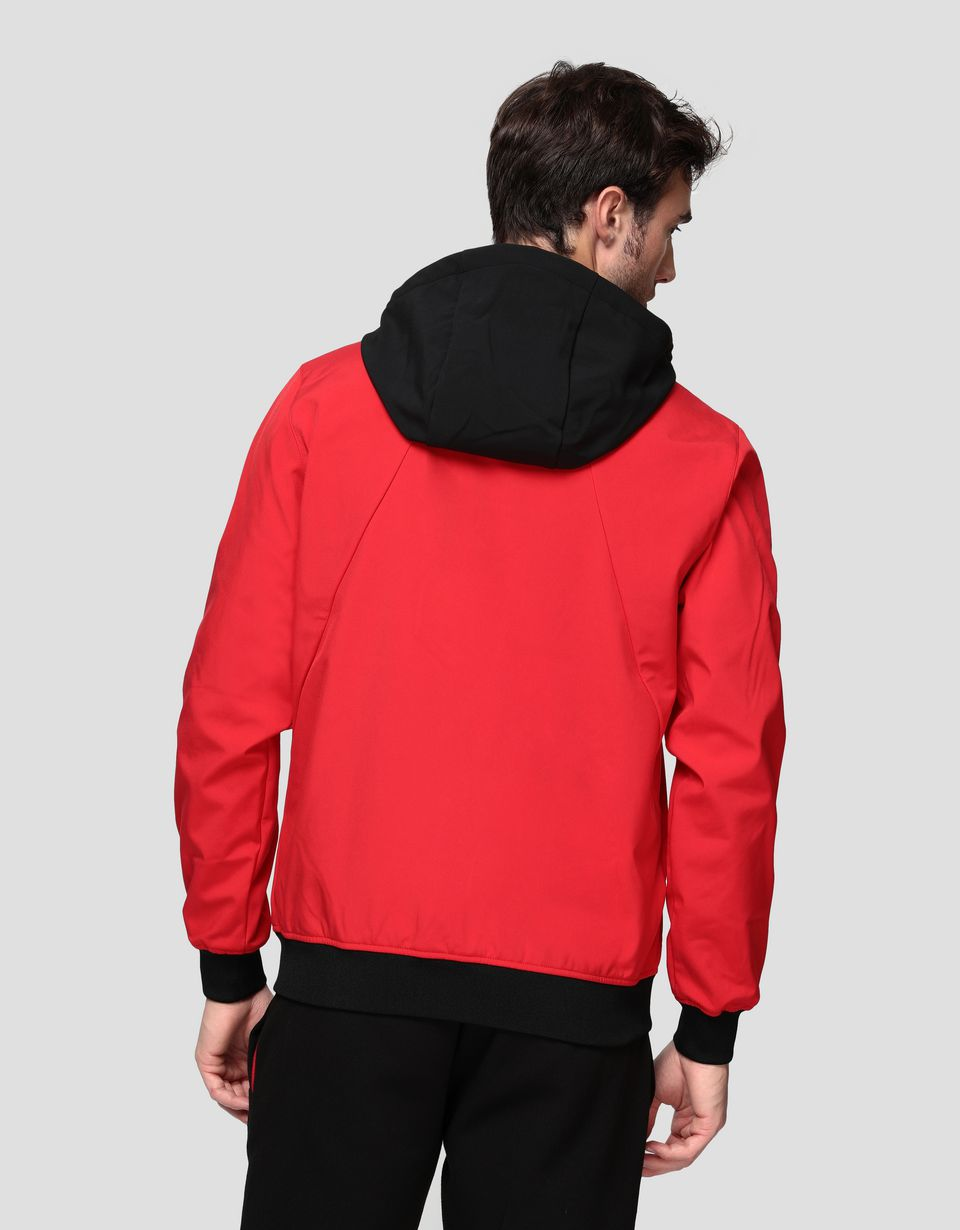 Scuderia Ferrari Online Store - Men's hooded jacket in SOFTSHELL - Bombers & Track Jackets