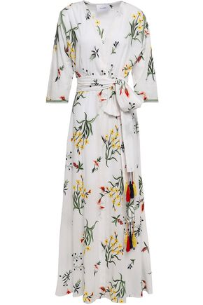WE ARE LEONE Provence belted embroidered cotton robe