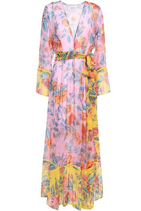 WE ARE LEONE Belted silk-georgette robe