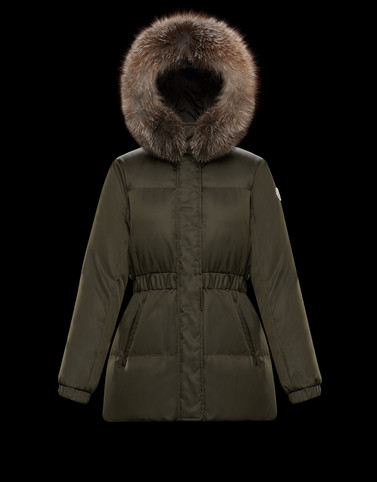 FATSIANFUR Dark green Short Down Jackets Woman