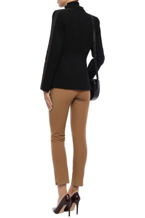 AMANDA WAKELEY Double-breasted grosgrain-trimmed cotton-blend crepe blazer