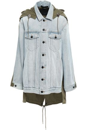 ALEXANDER WANG Paneled cotton-gabardine and denim hooded jacket