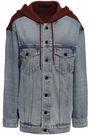 ALEXANDER WANG Paneled denim and cotton-fleece hooded jacket