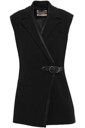 ROBERTO CAVALLI Belted leather-trimmed crepe vest