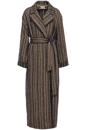 FORTE_FORTE Belted frayed bouclé-tweed coat