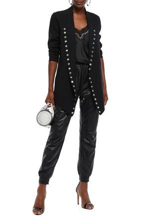 Alexander Wang Button-embellished Wool-blend Crepe Jacket In Black