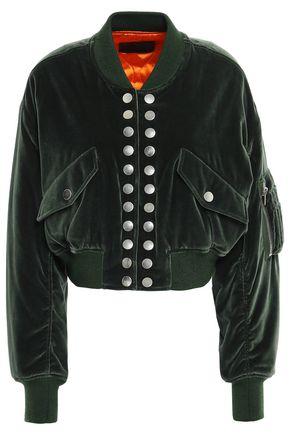ALEXANDER WANG Studded cropped velvet bomber jacket