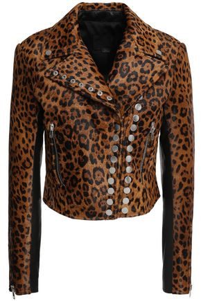 ALEXANDER WANG Paneled studded calf hair and pebbled-leather biker jacket