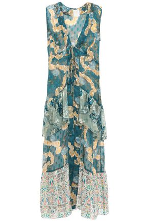 ANNA SUI Tiered fil coupé silk-chiffon vest