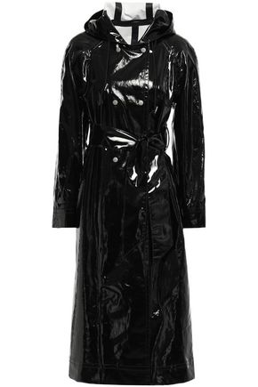 ALEXACHUNG Belted vinyl trench coat