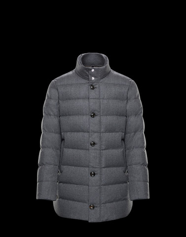 BAUDIER Grey Long Down Jackets Man
