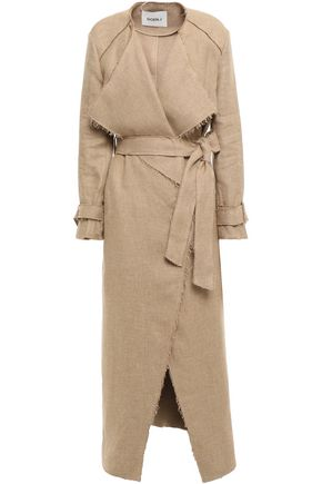 GOEN.J Frayed herringbone linen trench coat
