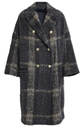 BRUNELLO CUCINELLI Double-breasted oversized bead-embellished alpaca-blend coat