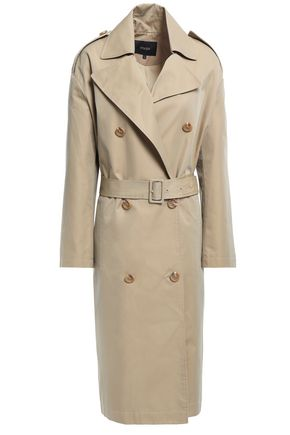 MAJE Double-breasted cotton-blend twill trench coat