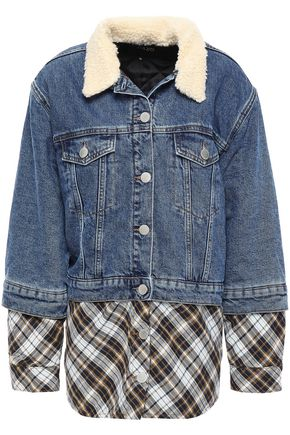 MAJE Faux fur-trimmed paneled denim and woven jacket