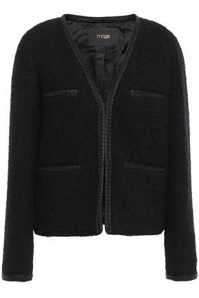 MAJE Bead-embellished grosgrain-trimmed bouclé-tweed jacket