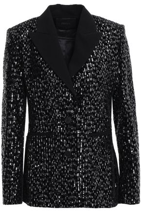 MAJE Sequined crepe and velvet blazer