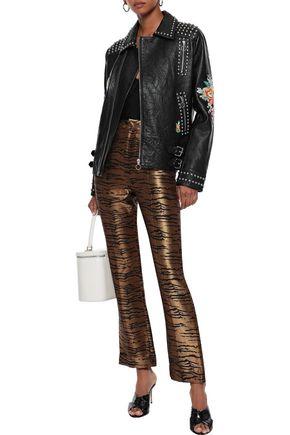 CAMILLA 装飾付き しわ加工レザー ライダースジャケット