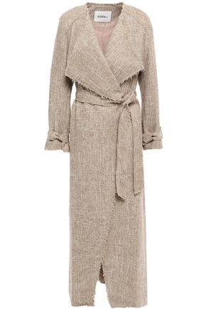 GOEN.J Frayed tweed trench coat