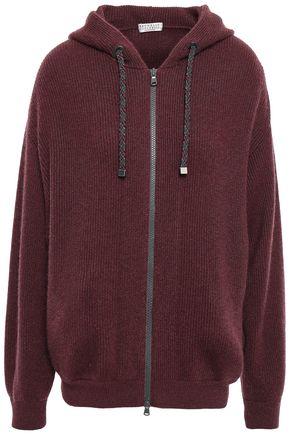 BRUNELLO CUCINELLI Metallic ribbed cashmere-blend hoodie
