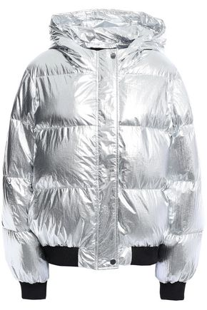 MAJE Quilted shell hooded down jacket
