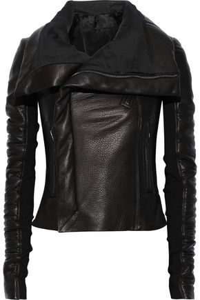 RICK OWENS Ribbed knit-paneled textured-leather jacket