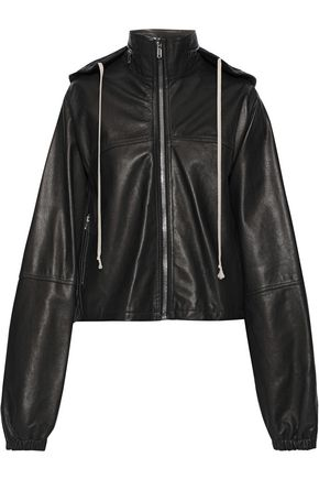 RICK OWENS Textured-leather hooded jacket