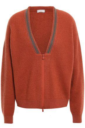 BRUNELLO CUCINELLI Bead-embellished ribbed cashmere cardigan