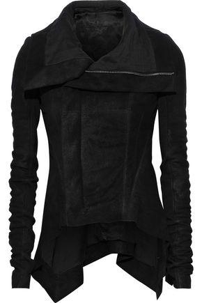 RICK OWENS Knit-paneled draped distressed leather biker jacket