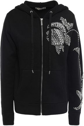 MICHAEL MICHAEL KORS Crystal-embellished cotton-blend knitted hoodie