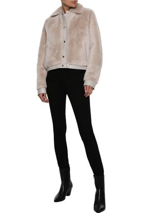 IRIS & INK Lisbet leather-trimmed shearling coat