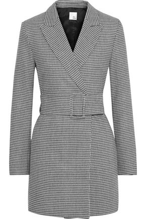 IRIS & INK Ryden belted double-breasted houndstooth woven blazer